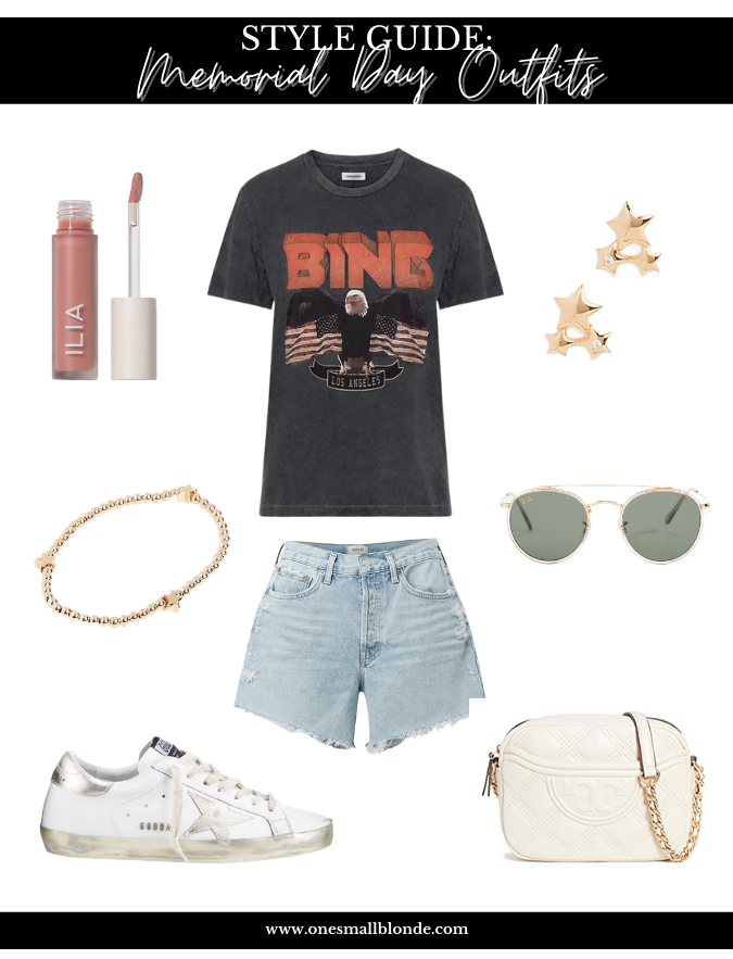 collage of clothes and accessories you can wear for MEMORIAL DAY WEEKEND OUTFITS