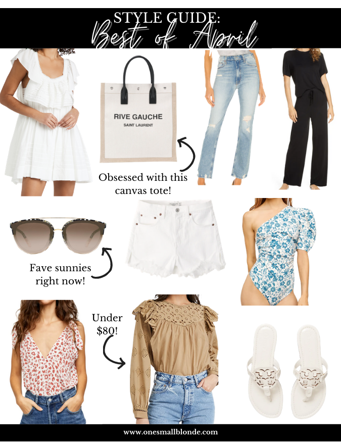 collage of women's clothes, bag, and accessories for BEST OF APRIL 2021