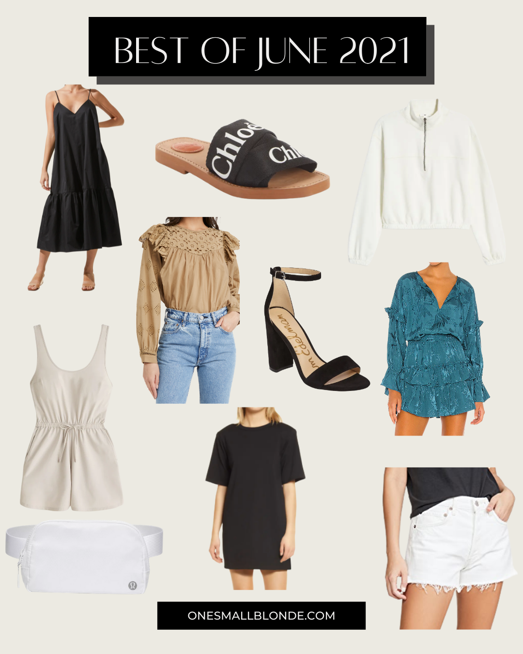 a collage of women's clothes and shoes
