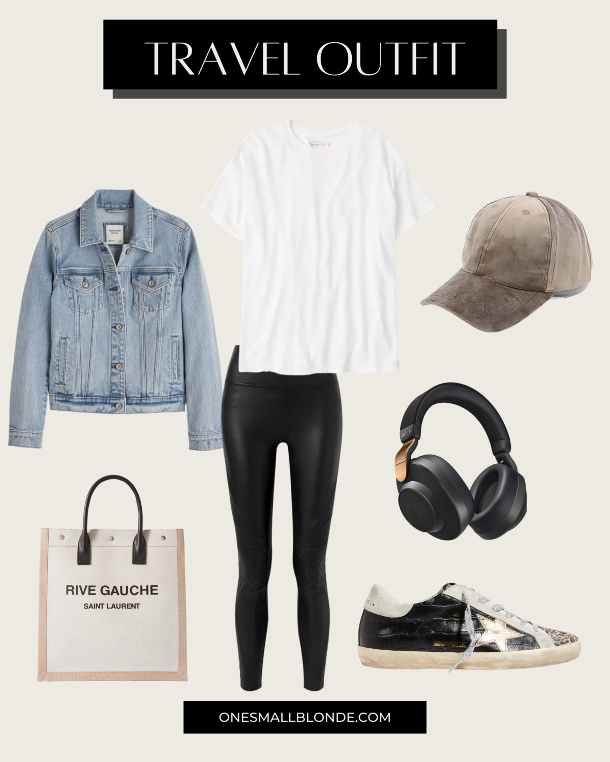collage of travel outfit